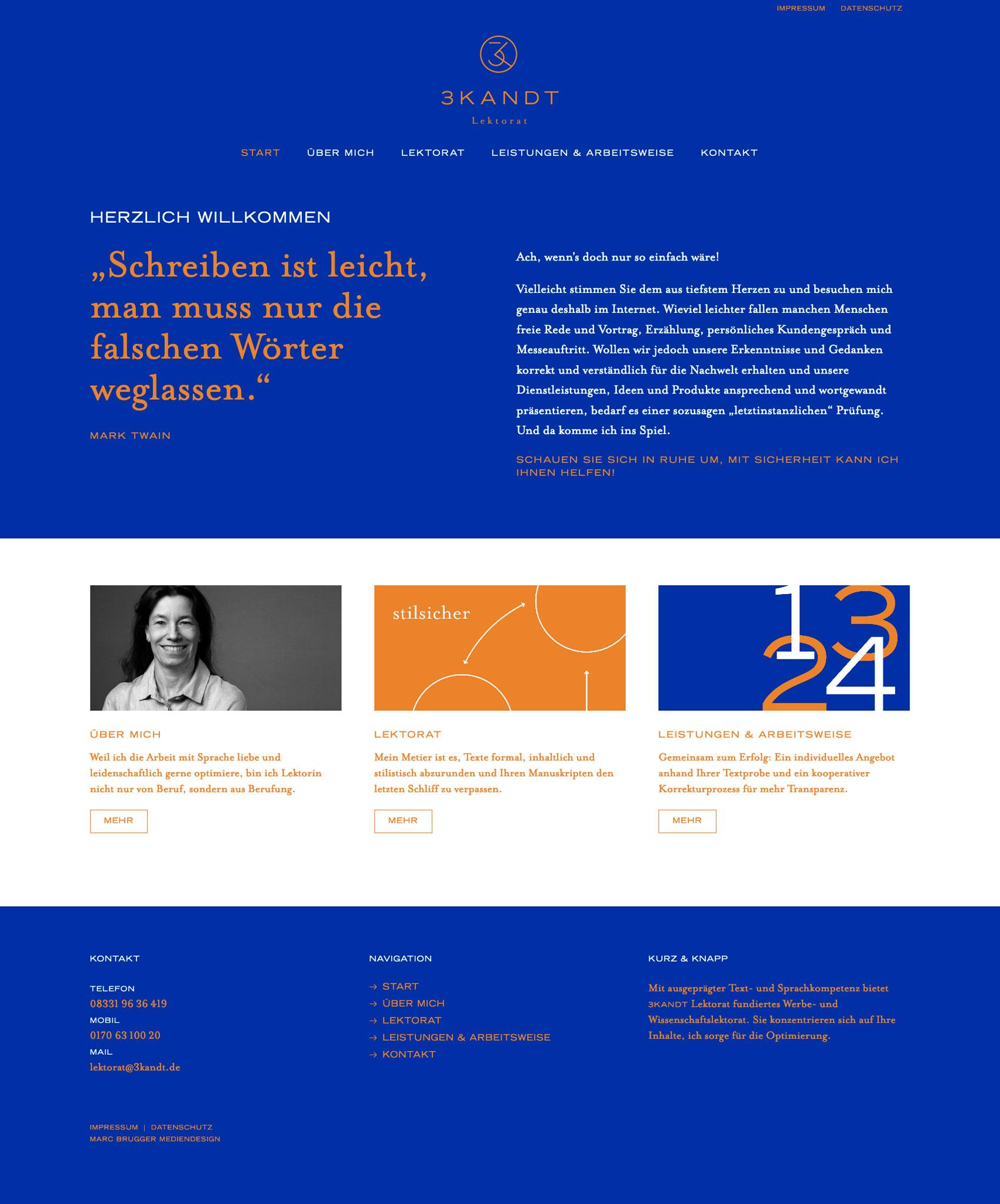 Webdesign und Content Creation in Zusammenarbeit mit 3KANDT Lektorat
