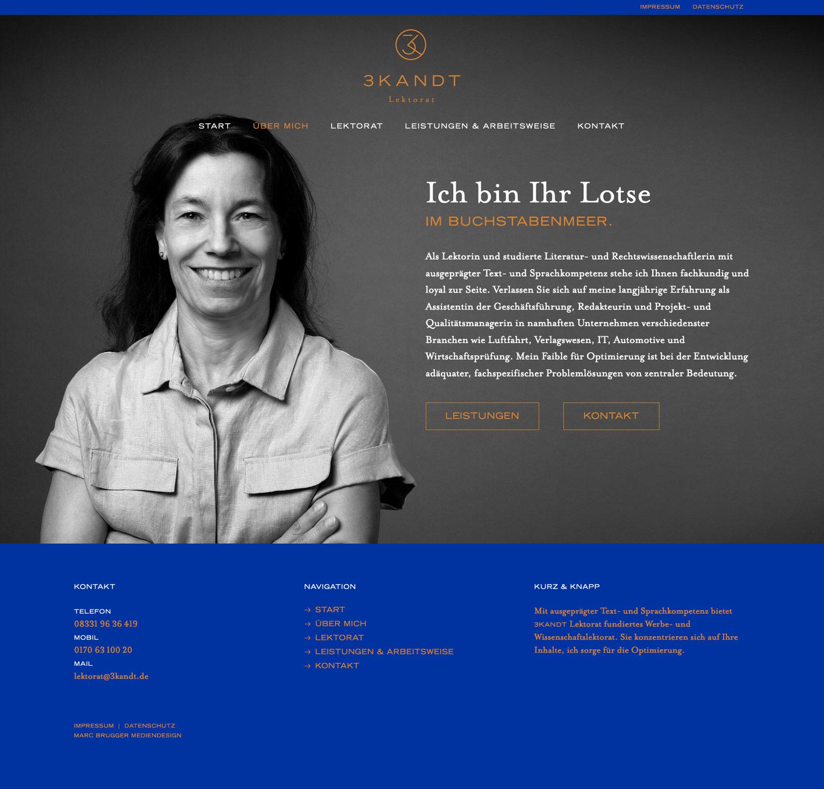 Internetseite Lektorat 3KANDT Memmingen