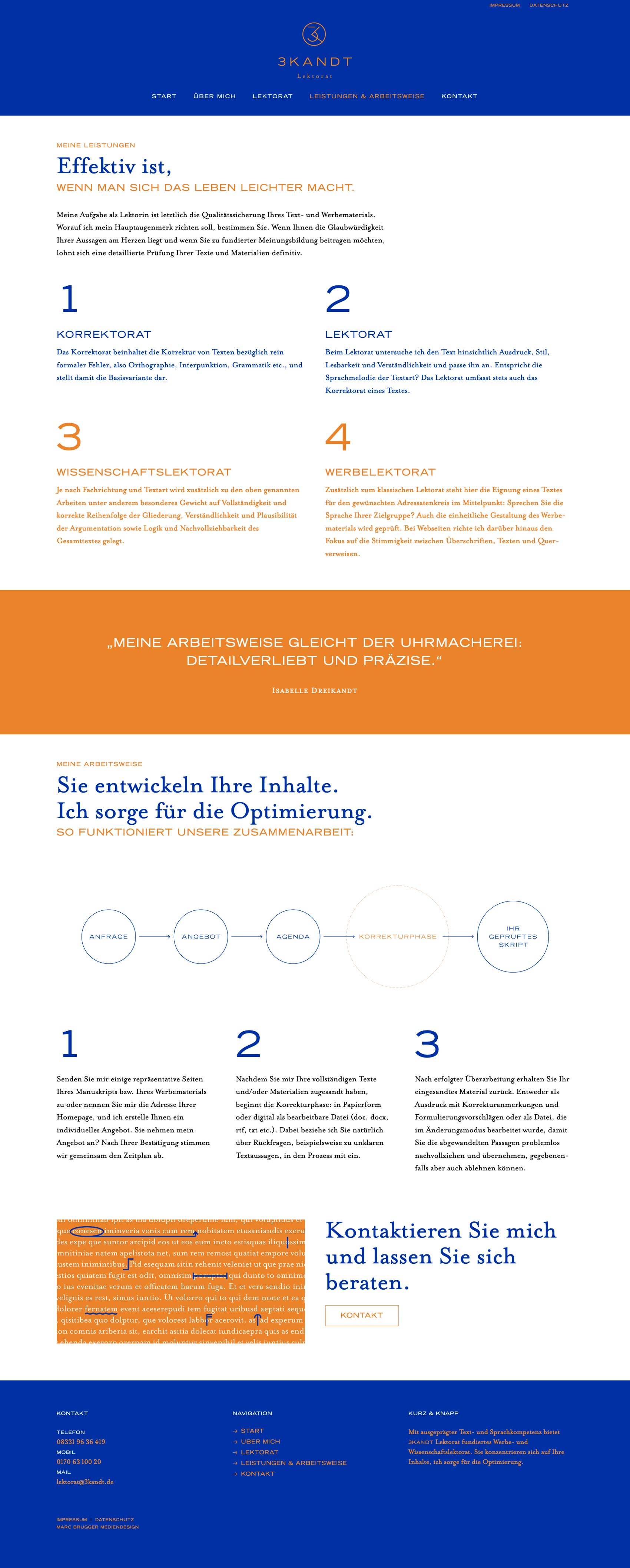 Website für 3KANDT Lektorat im Allgäu