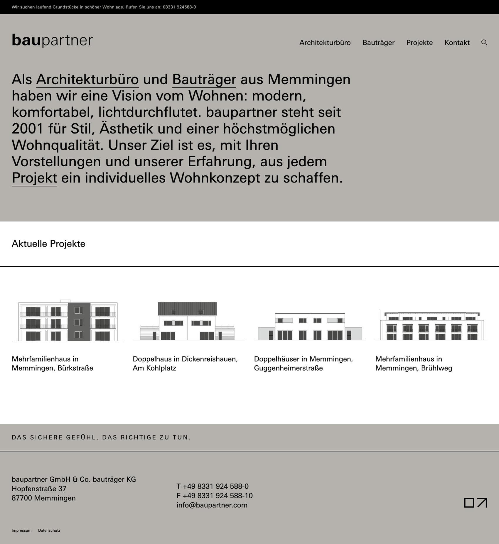 Homepage für Architekturbüro baupartner aus Memmingen