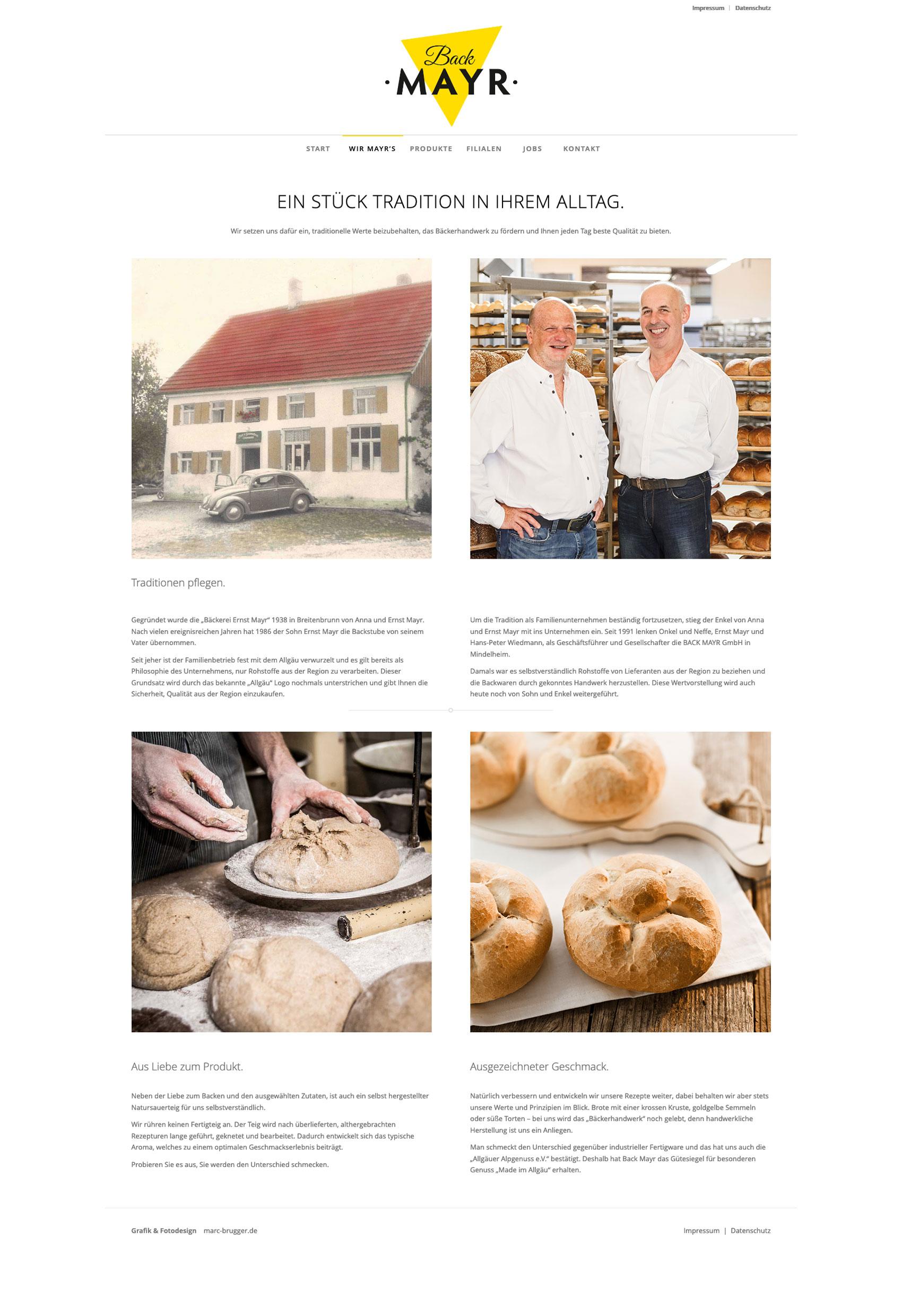 Internetseite für Bäckerei Back Mayr