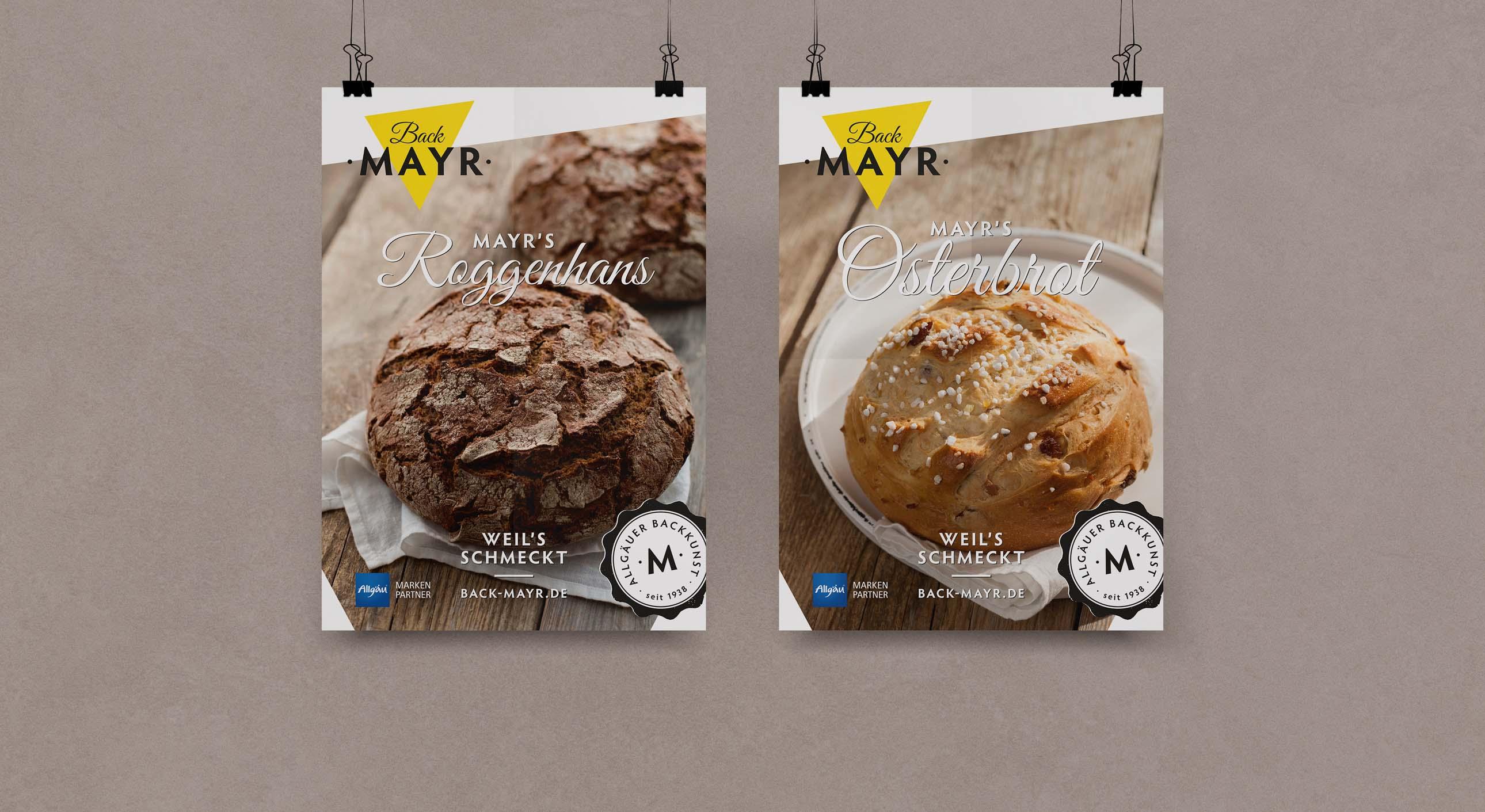 Design von Plakaten für Bäckerei Back Mayr