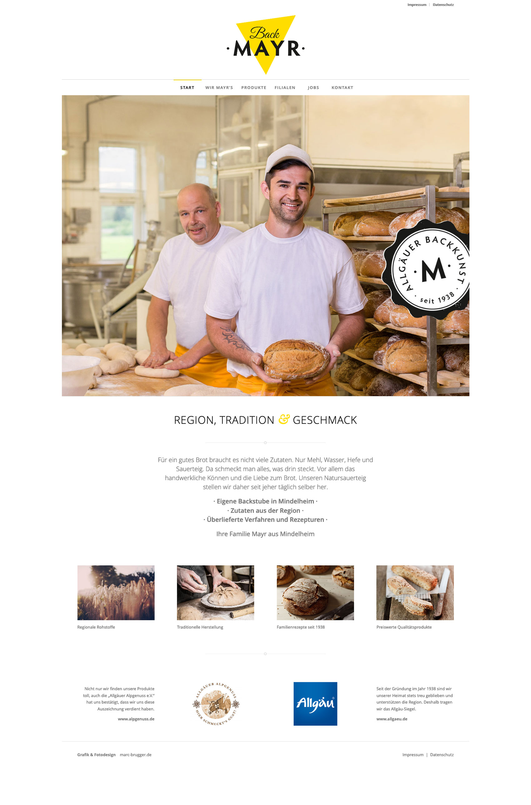 Website für Bäckerei Back Mayr aus Mindelheim