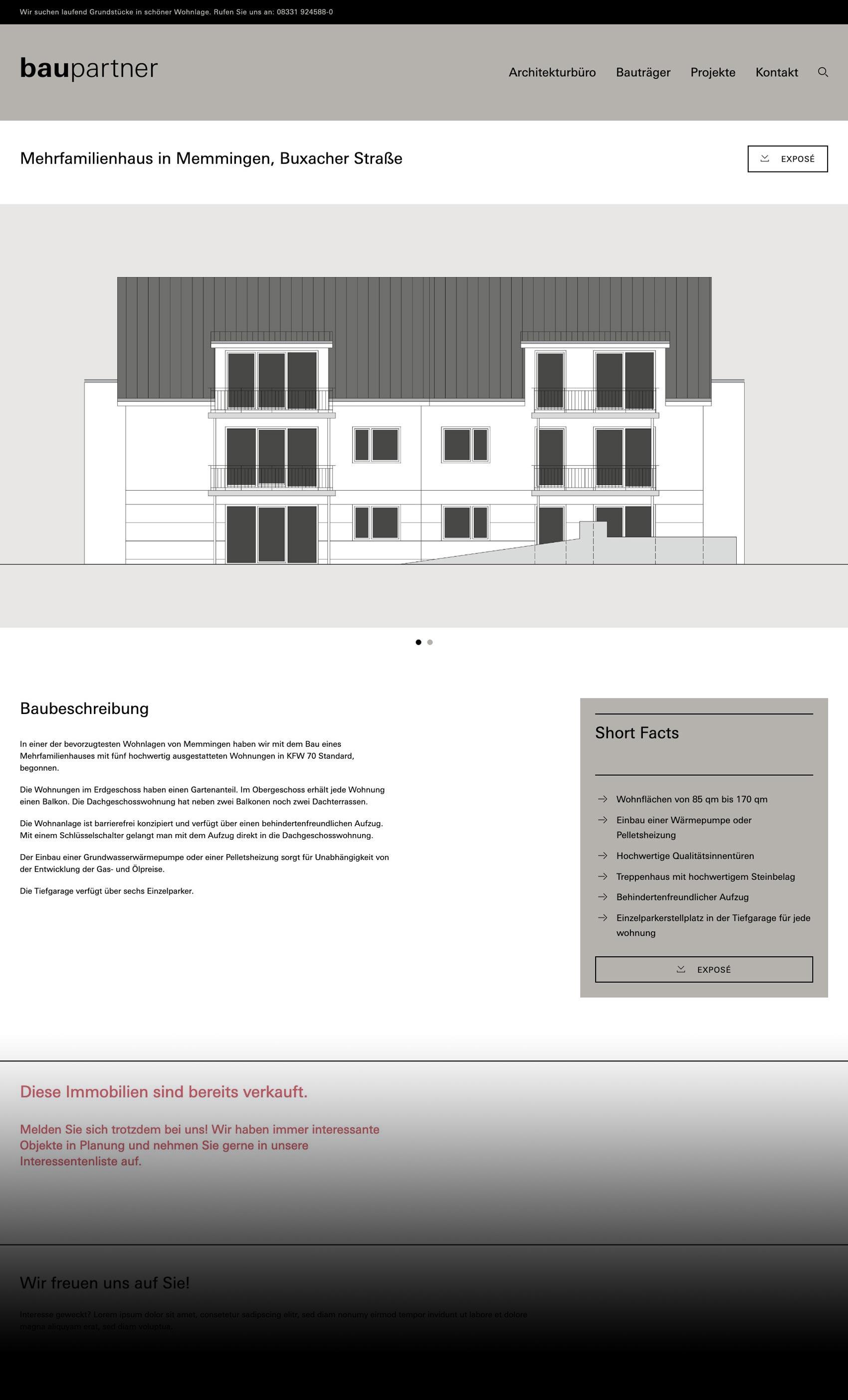 Webdesign für baupartner Memmingen