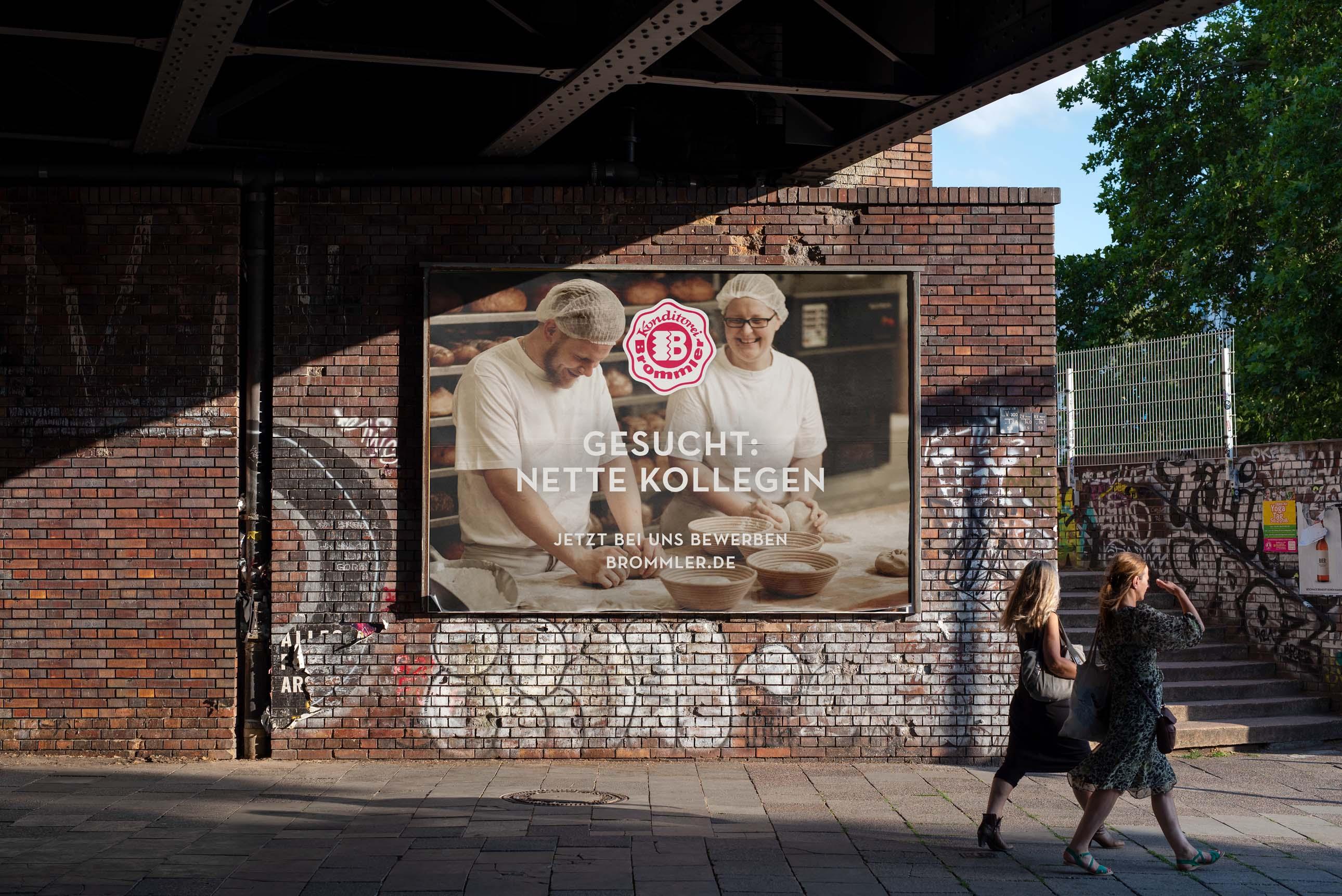 Mitarbeiterwerbung (Employer Branding) über Großformatplakate für die Bäckerei Brommler