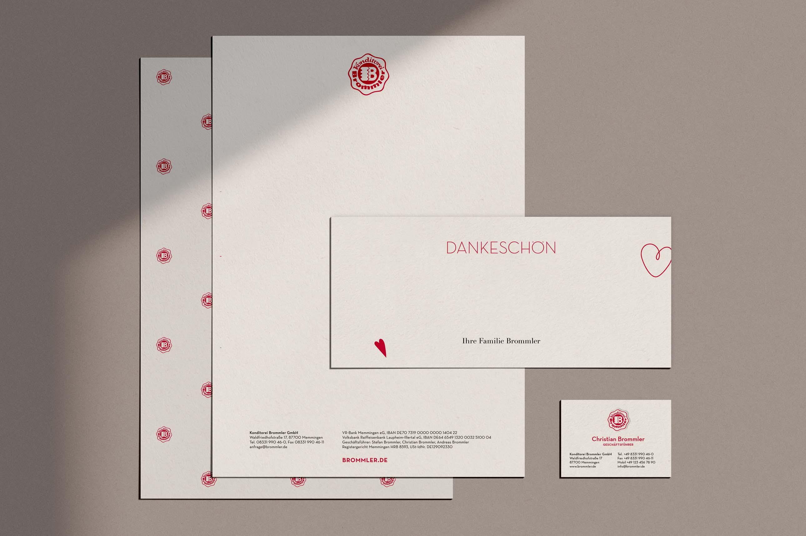 Geschäftspapier mit Visitenkarten für die Bäckerei Brommler