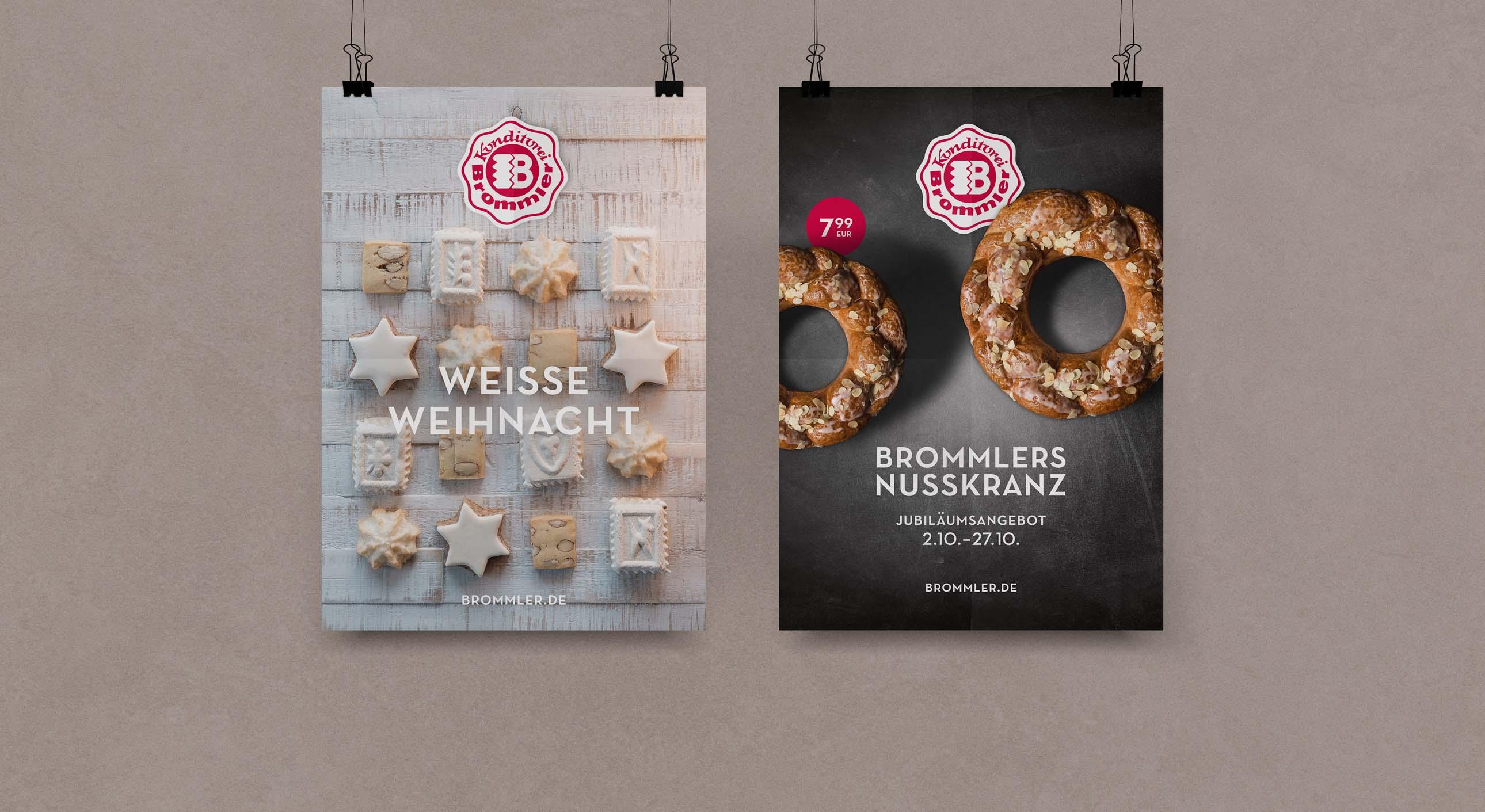 Saisonale Plakate für Filialen der Konditorei Brommler im Allgäu
