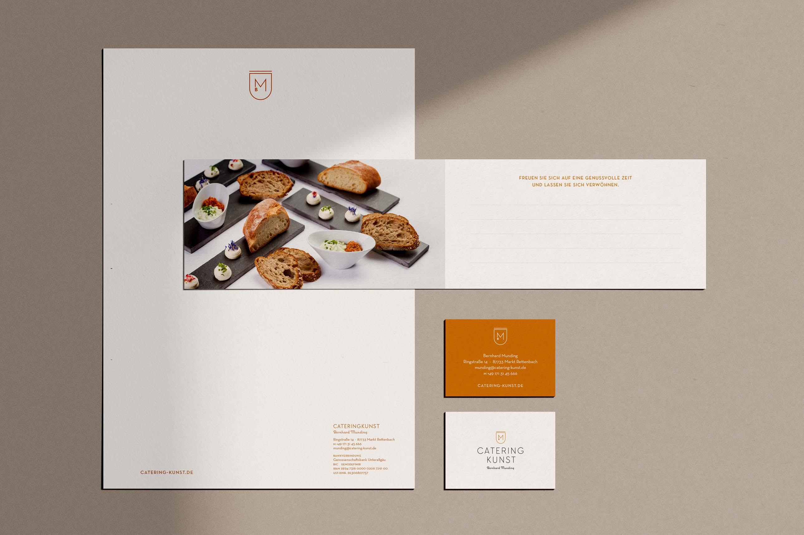 Grafikdesign der Geschäftsausstattung von Bernhard Mundings Cateringkunst