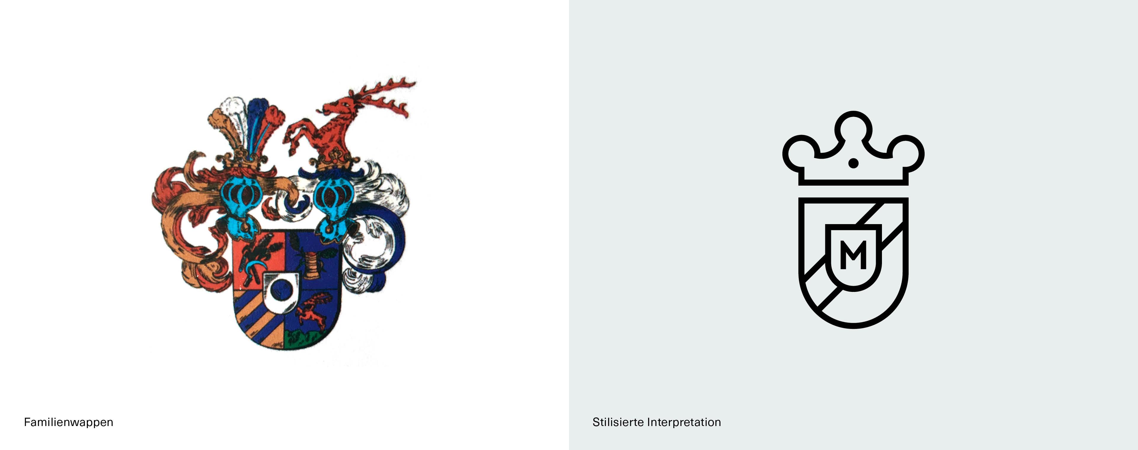 Stilisierte Grafik des ursprünglichen Familienwappens als neues Logo für den Gasthof Adler