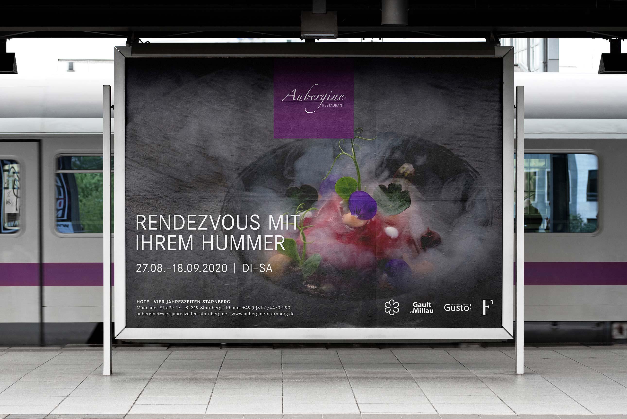 Großformatplakate Out-of-Home für das Gourmetrestaurant Aubergine in Starnberg