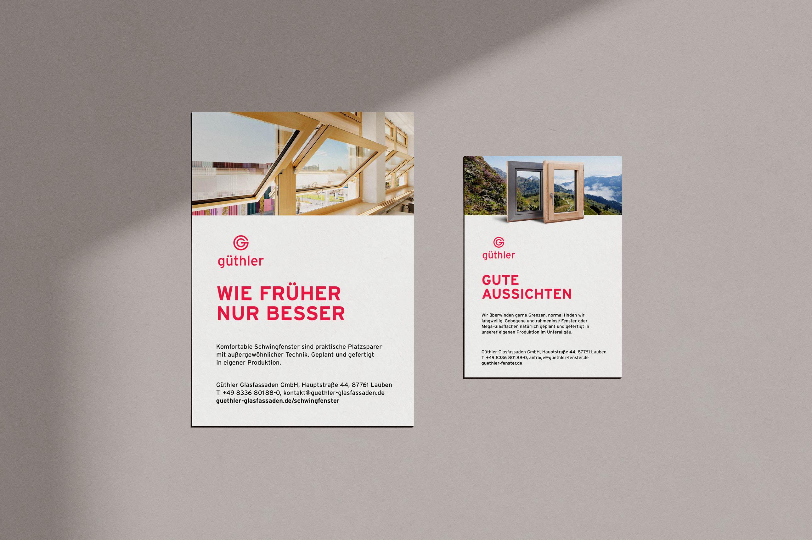 Anzeigen für Zeitungen und Magazine für Güthler Glasfassaden