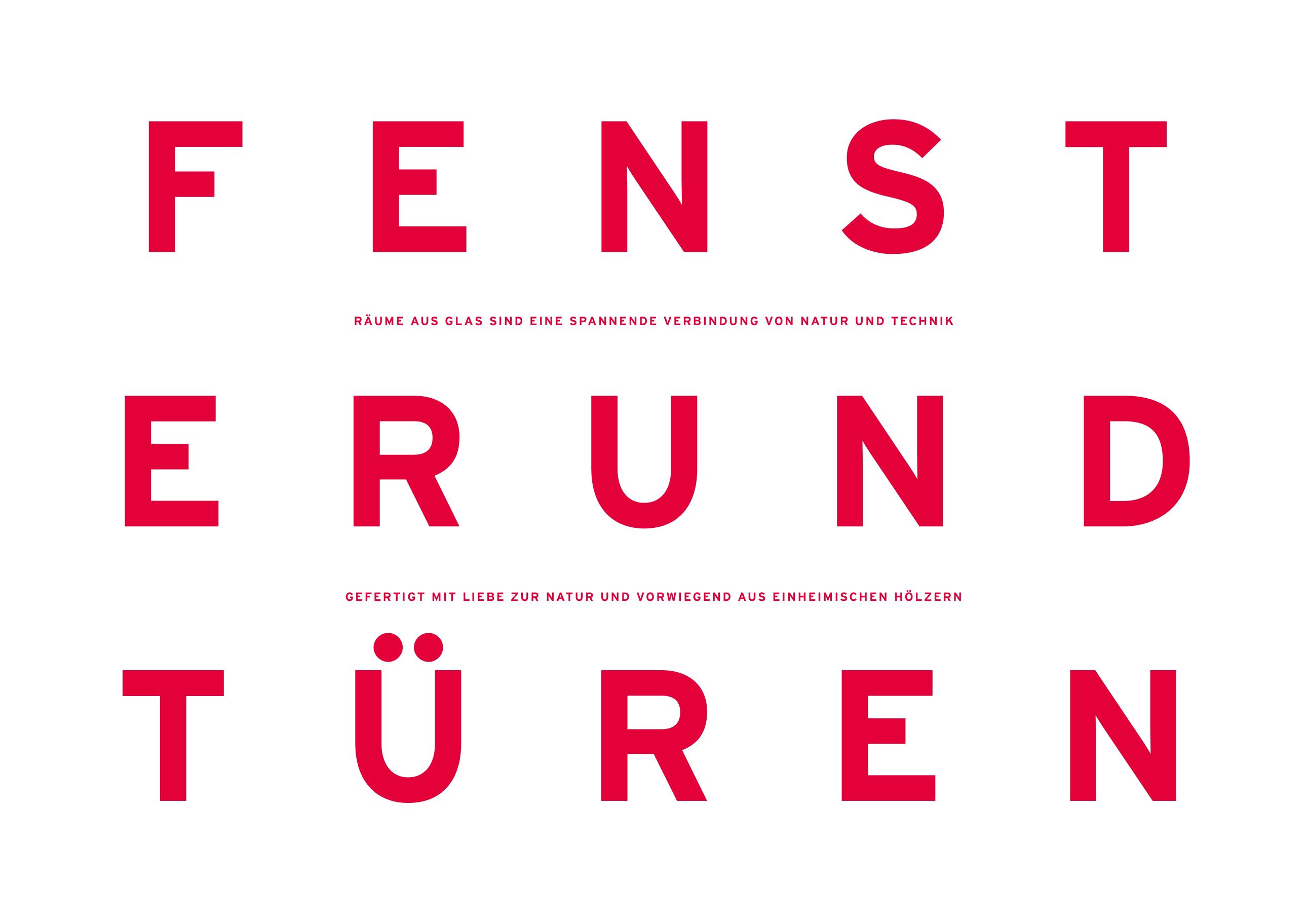 Experimentelles Corporate Design mit spannender Typografie für Güthler Glasfassaden im Allgäu