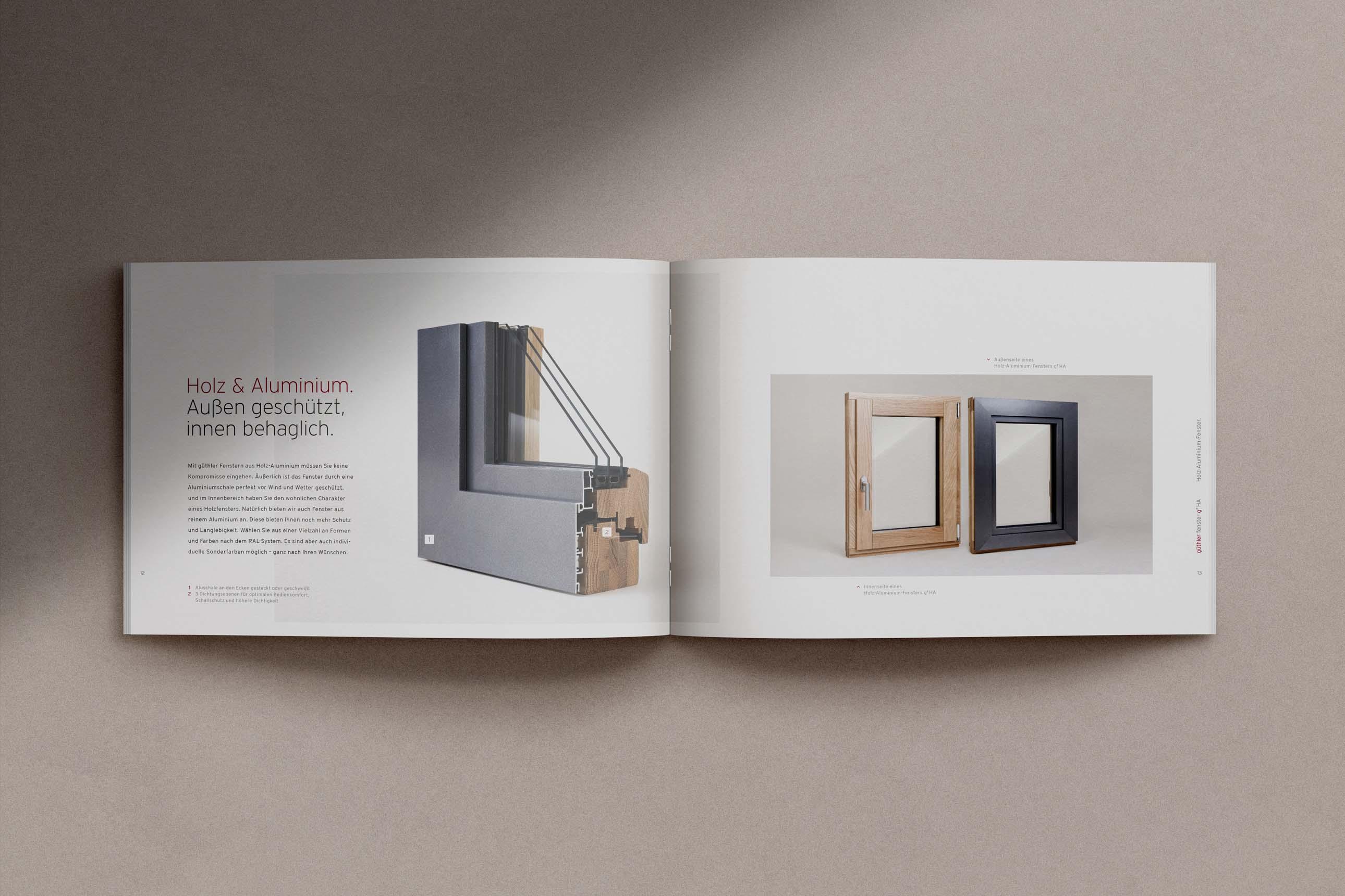 Imagebroschüre von Güthler Glasfassaden zur Produktpräsentation und Unterstützung im Vertrieb