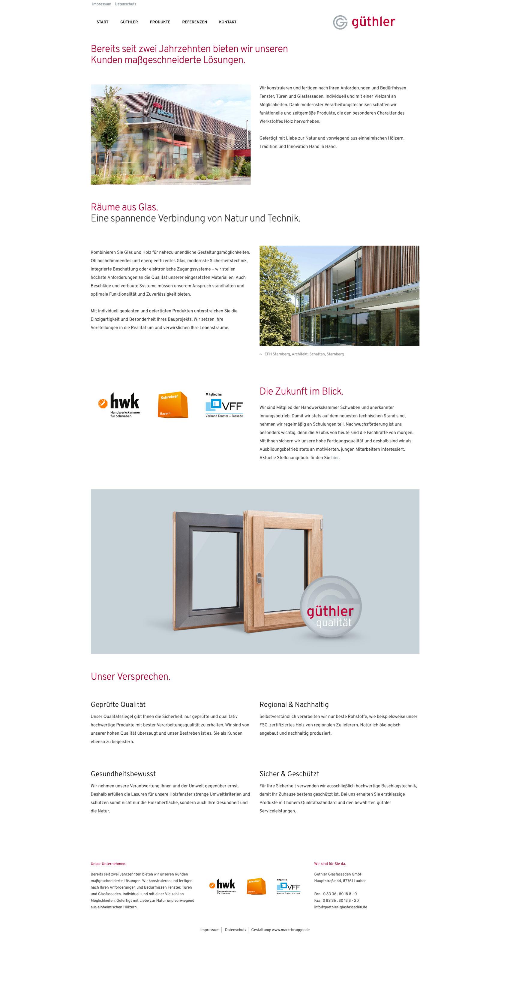 Internetseite und Online-Auftritt mit Eindrücken zum Unternehmen Güthler Glasfassaden GmbH