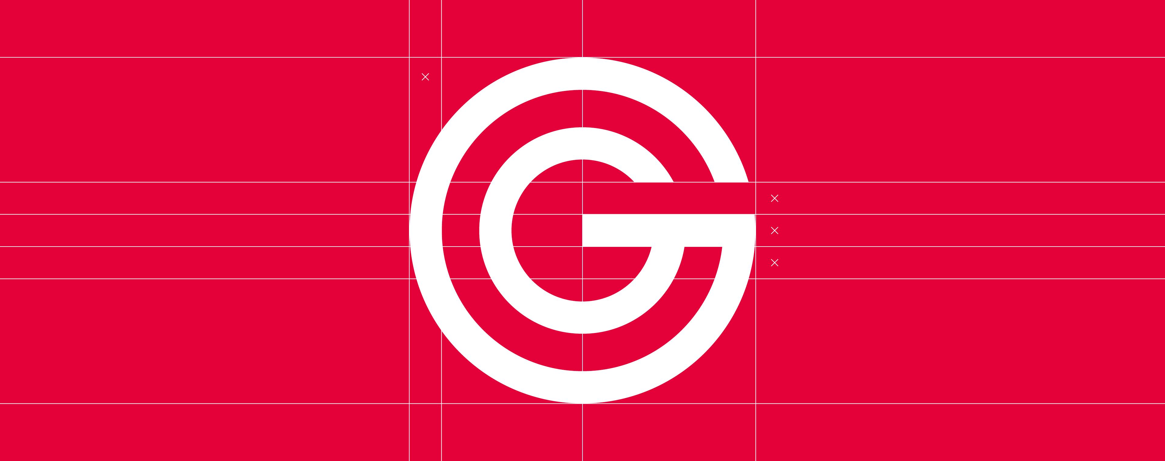 Logo und Signet mit geometrischem Aufbau für Güthler Glasfassaden GmbH