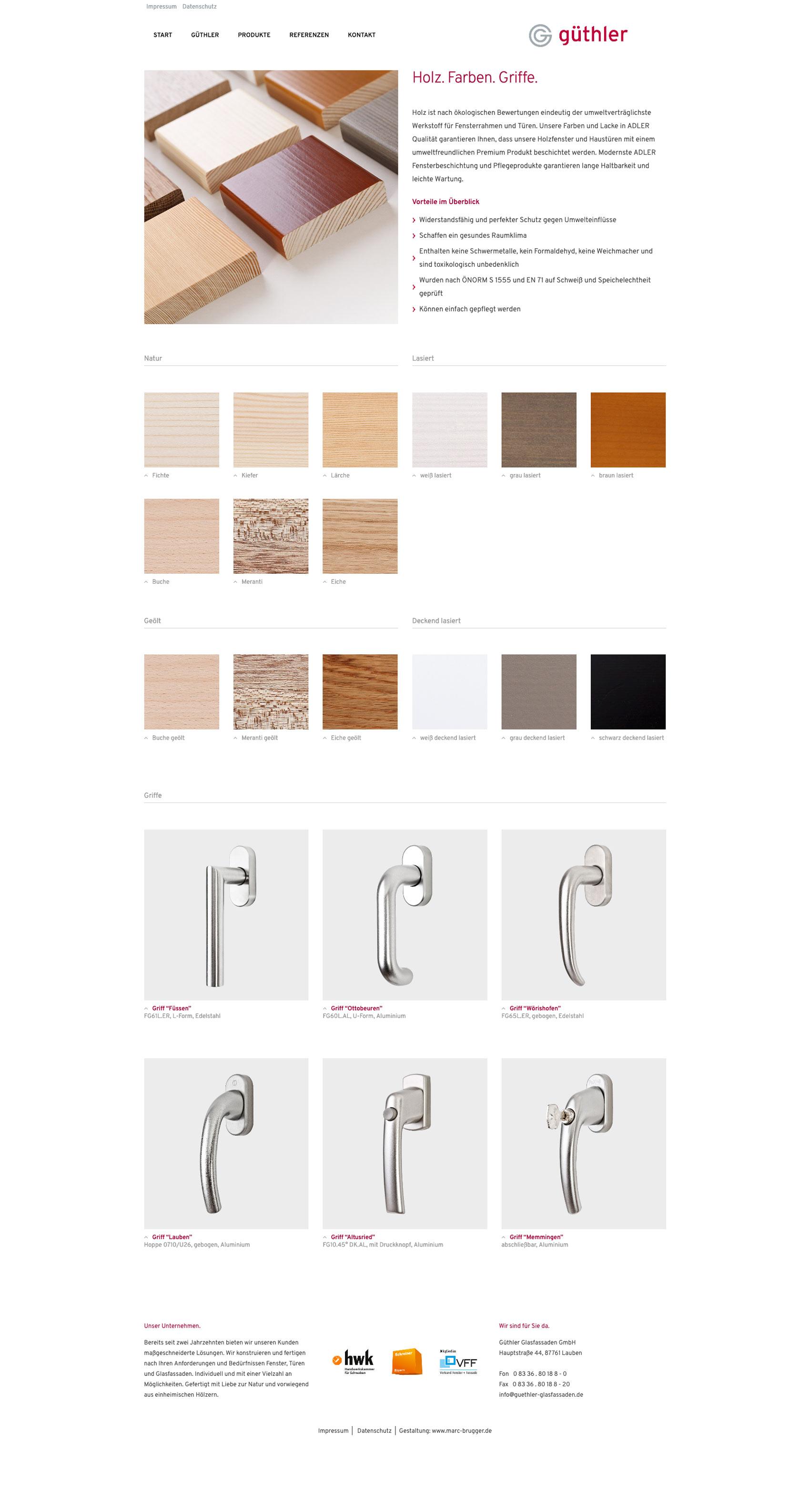 Internetauftritt von Güthler Glasfassaden mit Produktdarstellung und Farbauswahl
