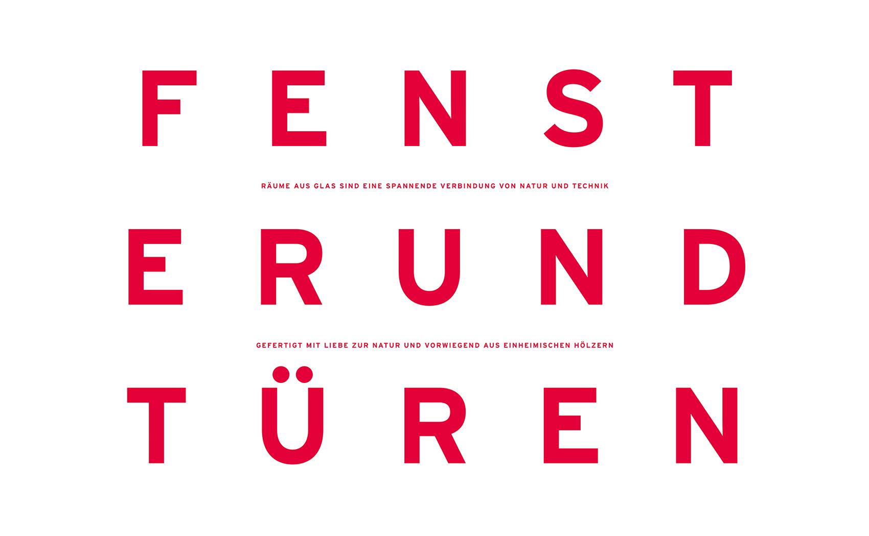Markante Typografie im Corporate Design für Fenster- und Glasfassadenhersteller Güthler Glasfassaden GmbH