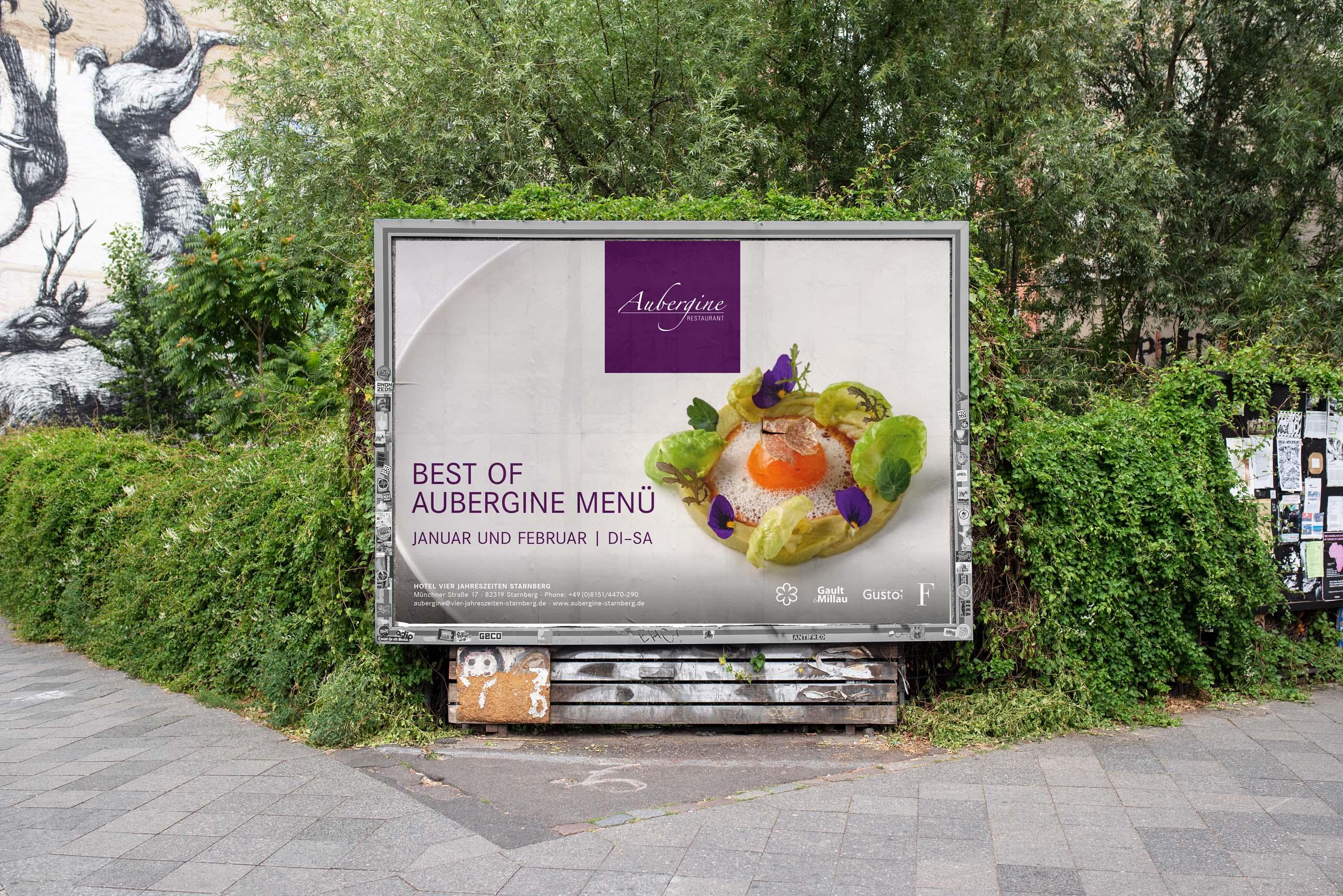Großformatwerbung mit kulinarischen Motiven des Restaurant Aubergine