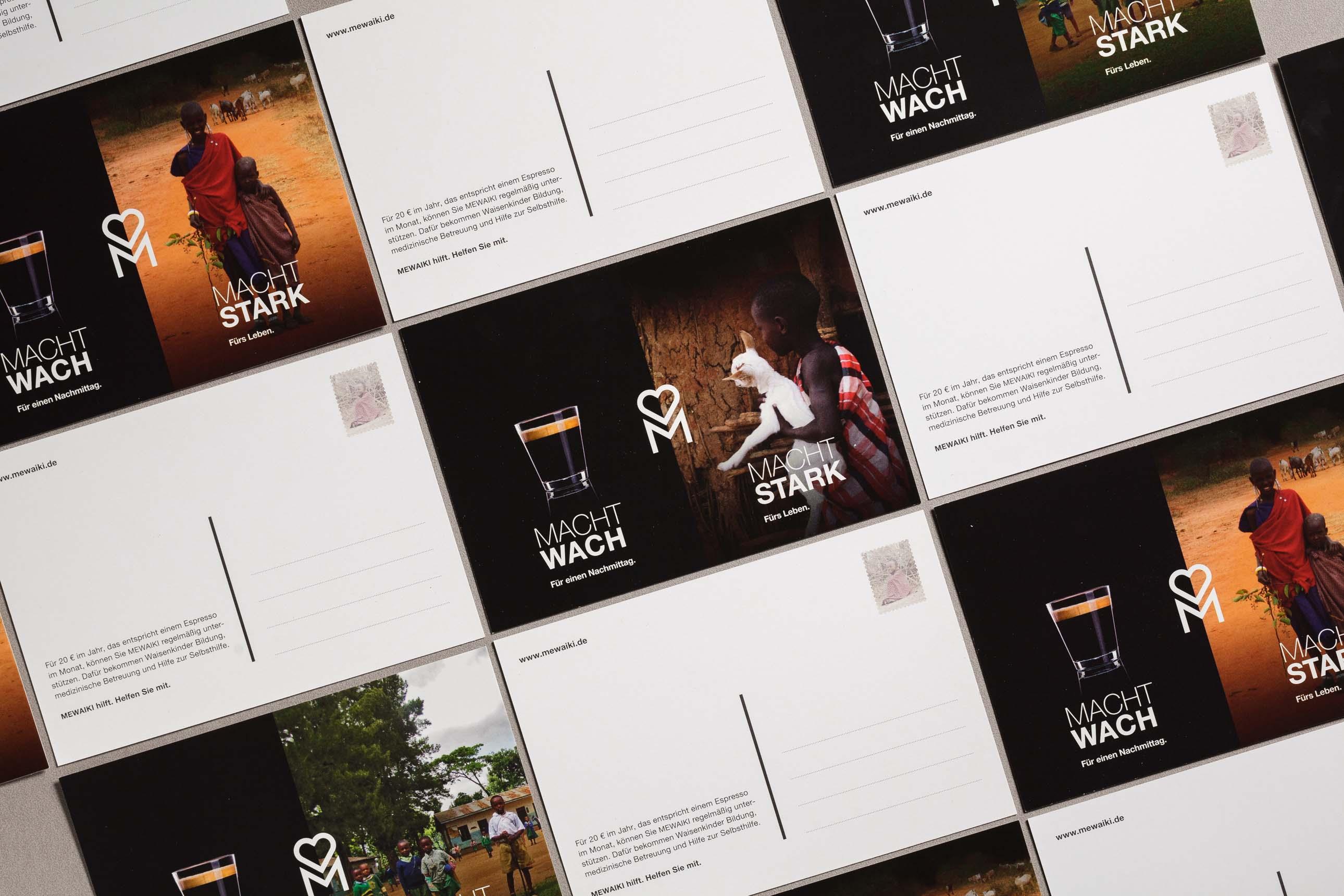 Postkartendesign mit Botschaft für MEWAIKI e.V.