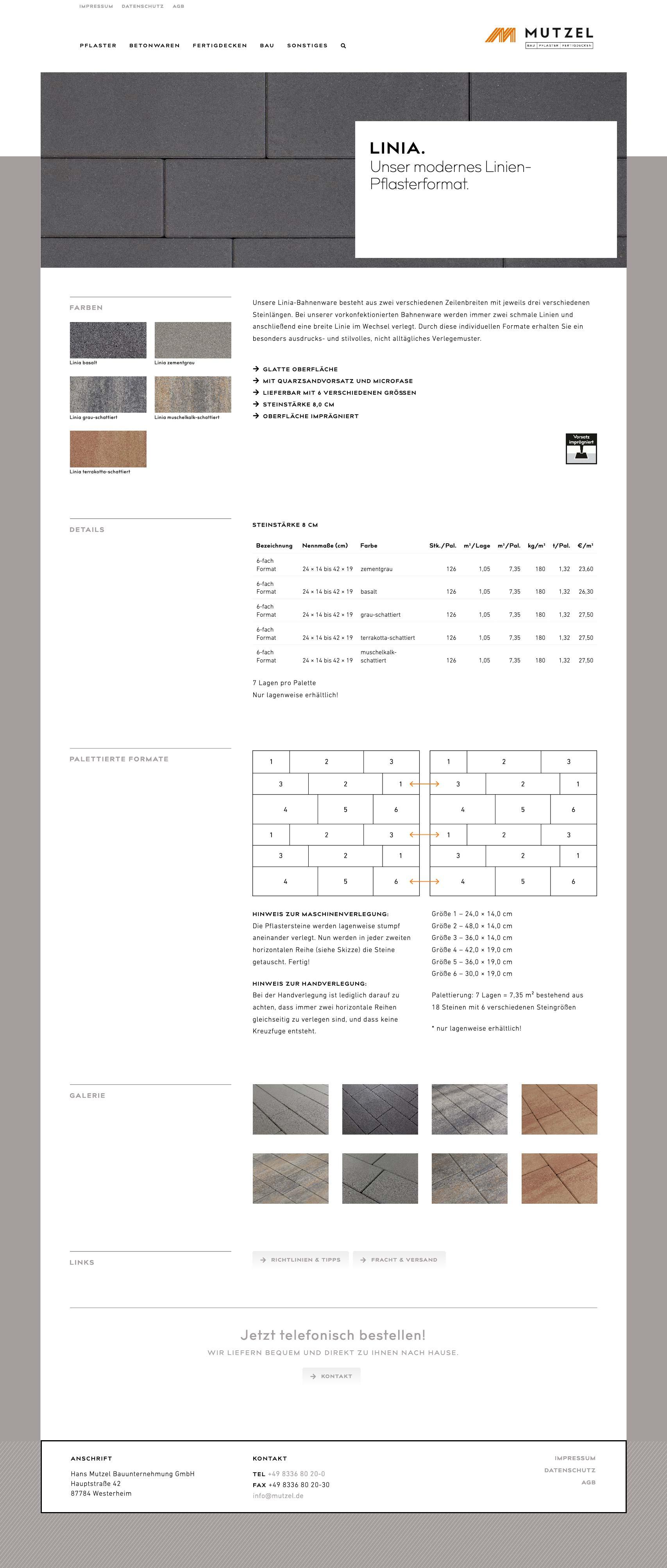 Website Design zur Produktpräsentation für Bauunternehmen Mutzel