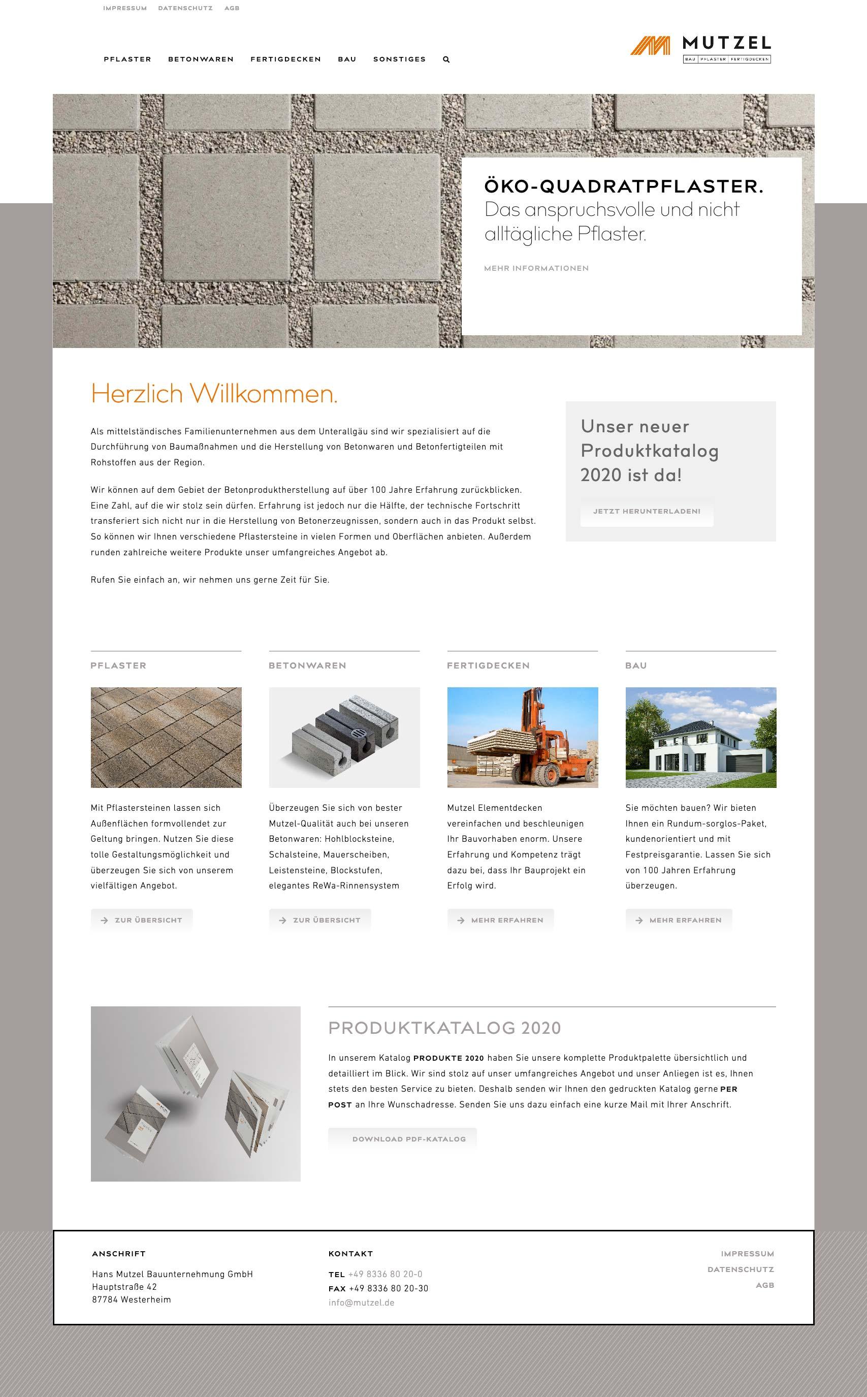 Internetseite für Bauunternehmen und Baustoffhersteller Mutzel aus Westerheim im Allgäu