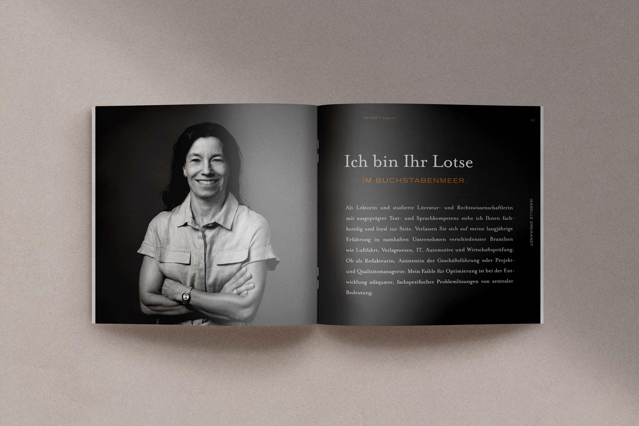 Broschüre für Werbe- und Wissenschaftslektorat 3KANDT aus Memmingen