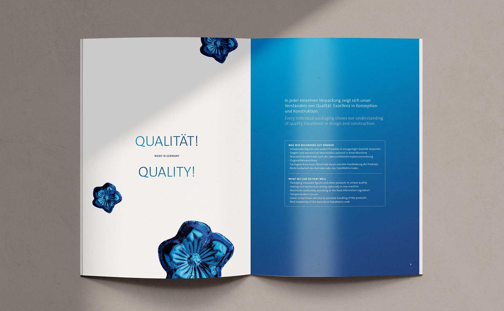 Imagekatalog und Produktbroschüre kompakt vereint für das Maschinenbauunternehmen Stampac GmbH