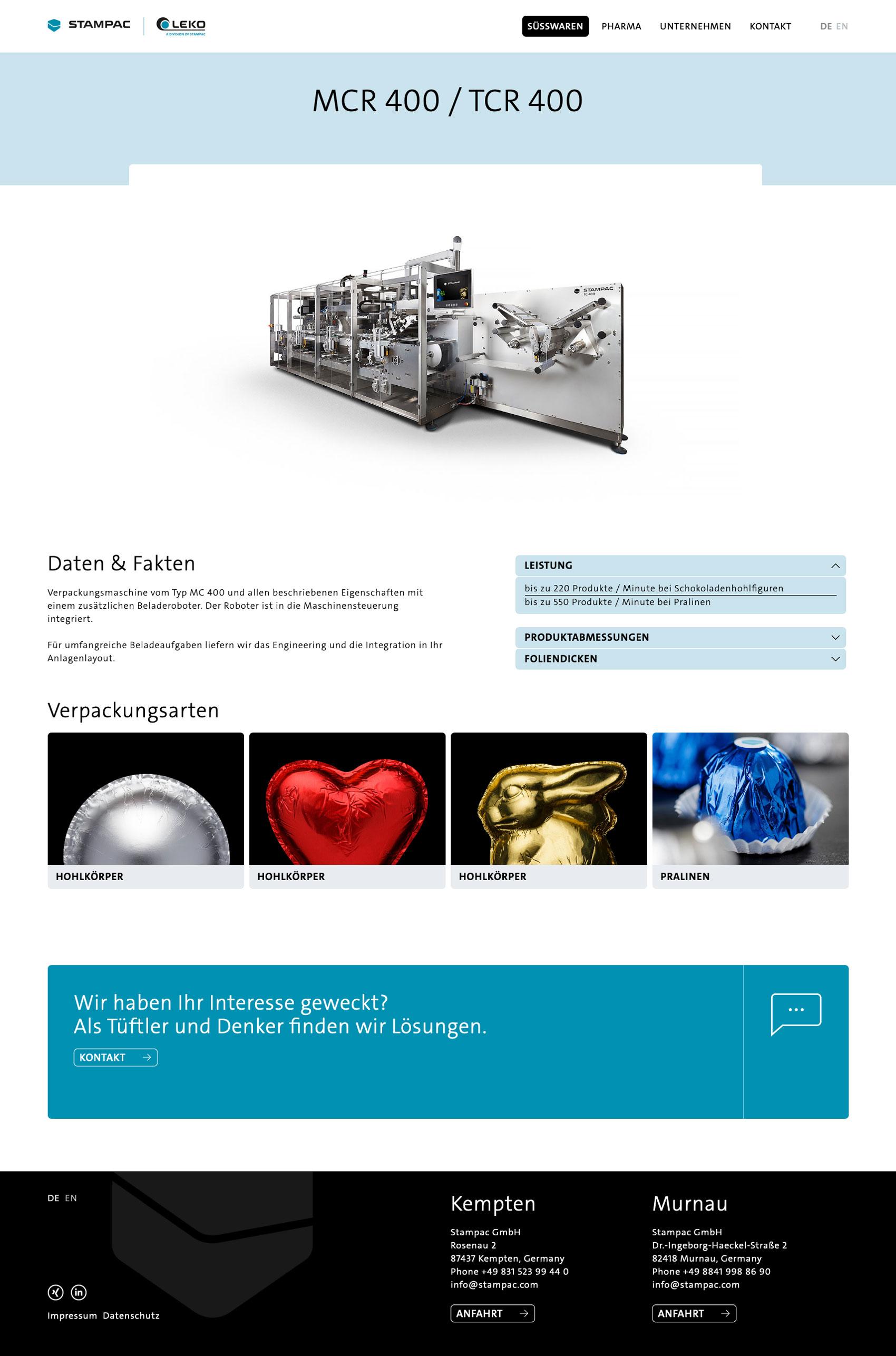 Maschinenbau und Industrie vereint in einem Webdesign mit emotionalen Bildern