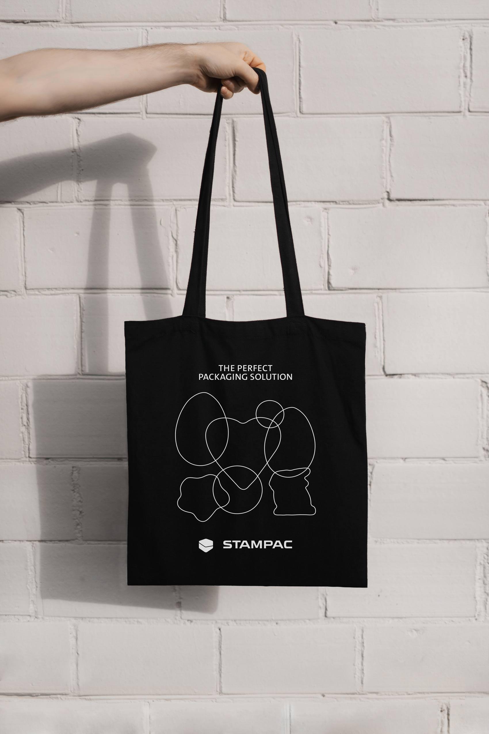 Tasche für Messeartikel und Werbung mit minimalistischem Aufdruck