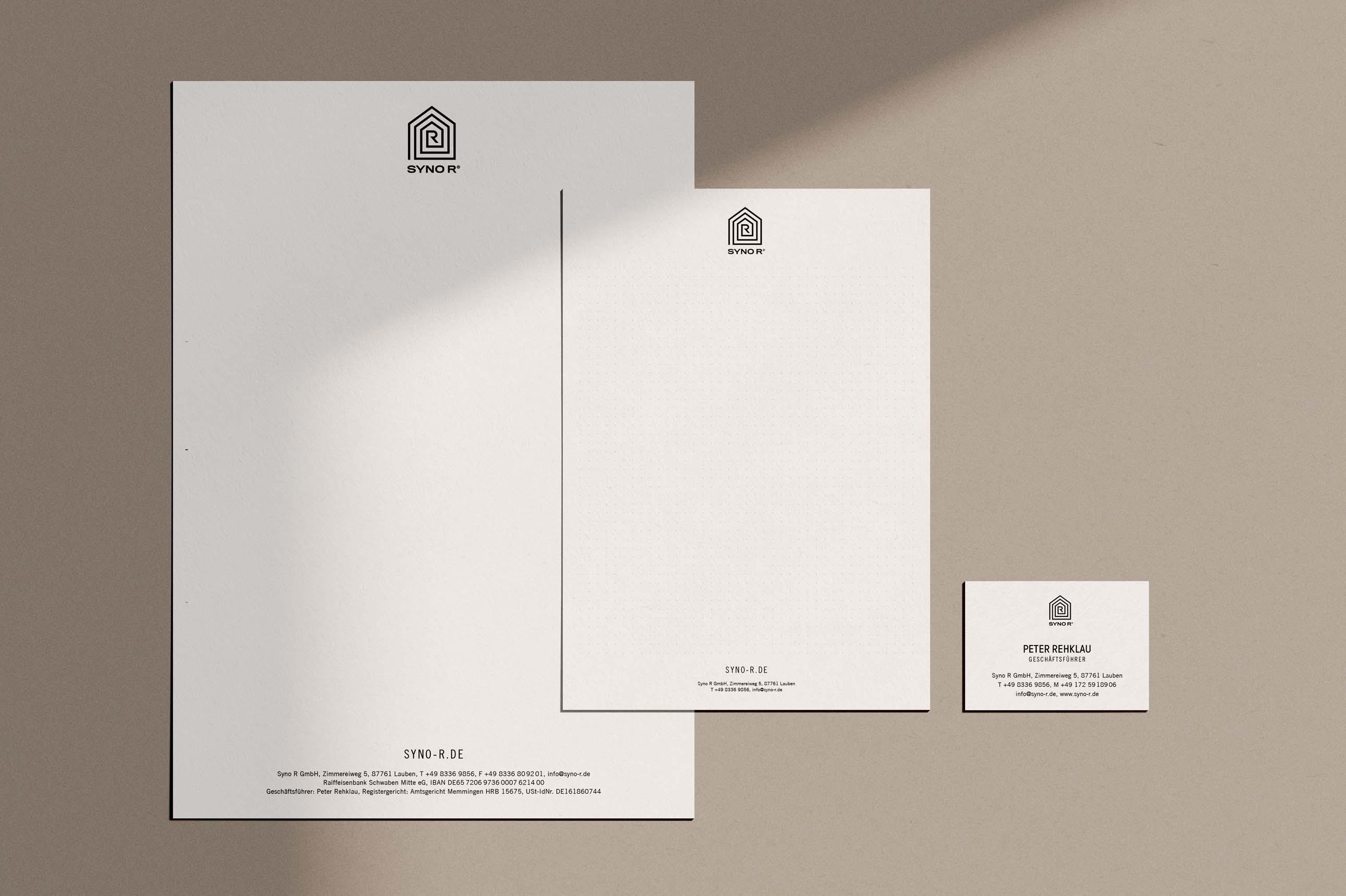 Grafikdesign der Geschäftsausstattung von Syno R im Allgäu
