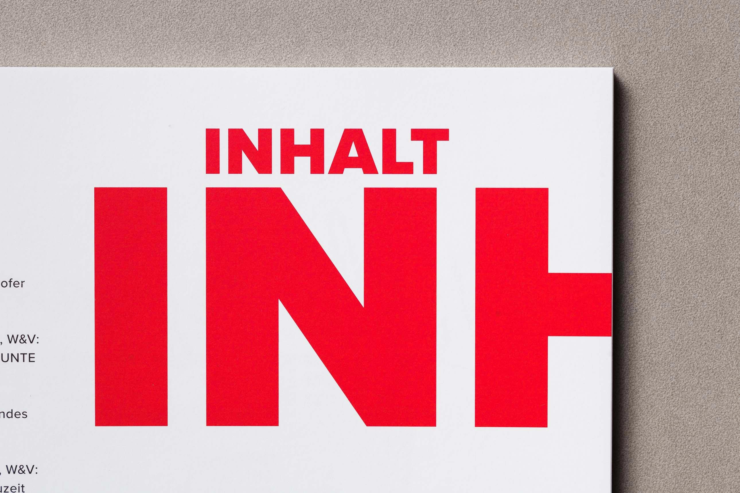 Table of Content im Design des Jahresmagazins des Verbands der Zeitschriftenverlage in Bayern