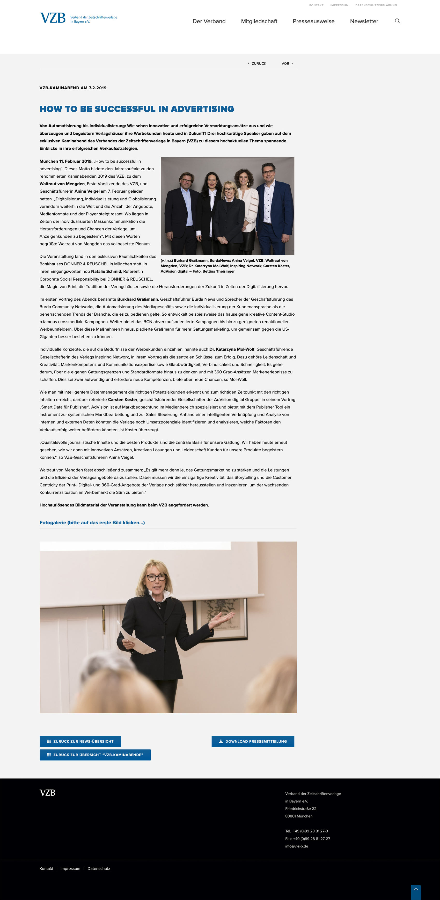 Onlineauftritt des Verbands der Zeitschriftenverlage in Bayern
