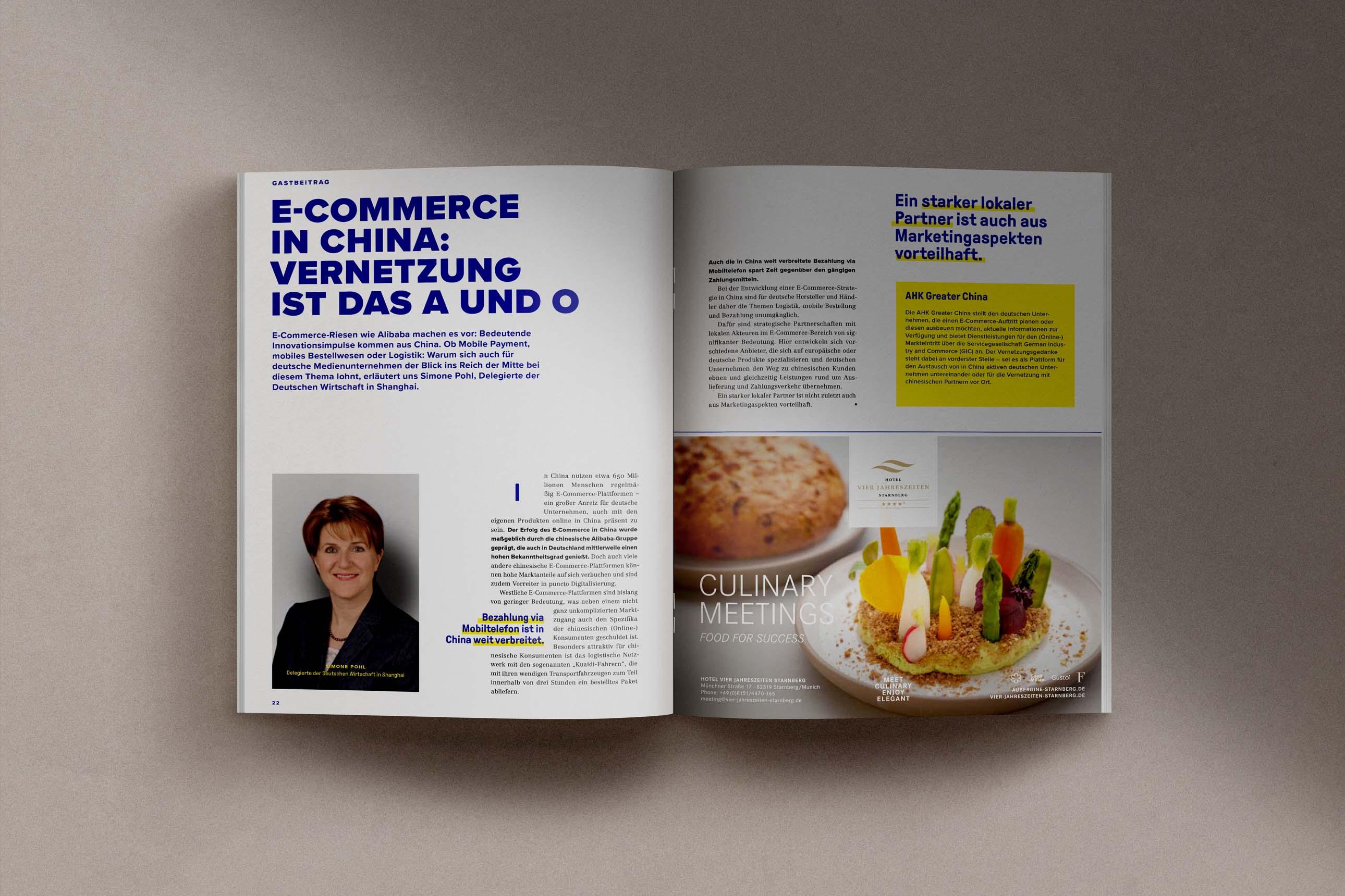Magazindesign mit Anzeigen im Annual Report des VZB München