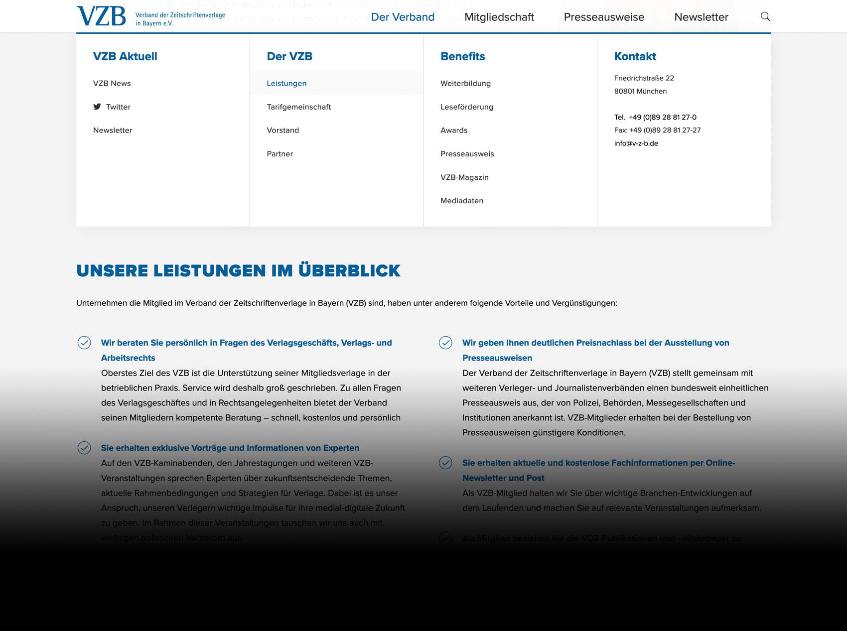 Internetseite des VZB München