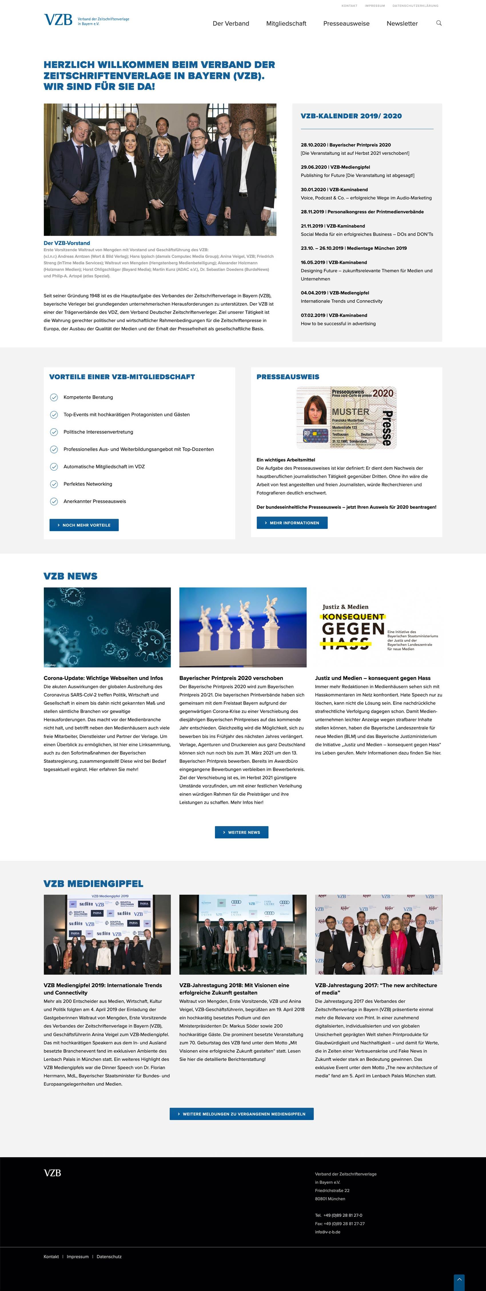 Webdesign für den VZB München